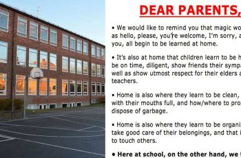 school asks parents to take responsibility